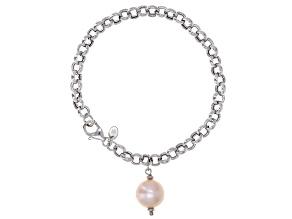 Genusis™ 11-12mm Pink Cultured Freshwater Pearl Rhodium Over Sterling Silver Bracelet
