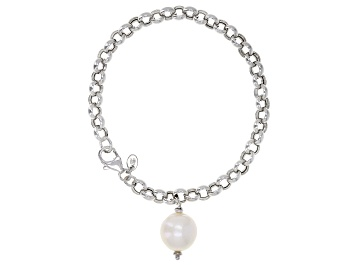 Picture of Genusis™ 11-12mm White Cultured Freshwater Pearl Rhodium Over Sterling Silver Bracelet