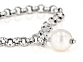 Genusis™ 11-12mm White Cultured Freshwater Pearl Rhodium Over Sterling Silver Bracelet