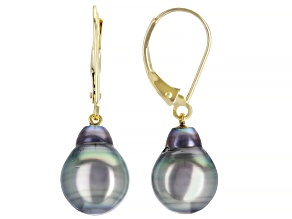 9-10mm Cultured Tahitian Pearl 14k Yellow Gold Drop Earrings