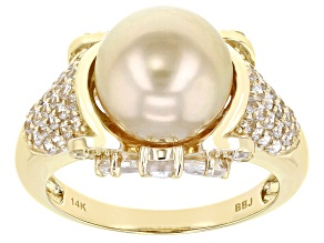 Golden Cultured South Sea Pearl & White Zircon 2.06ctw 14k Yellow Gold Ring