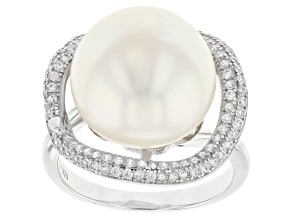 White Cultured Freshwater Pearl & Cubic Zirconia 1.03ctw Rhodium Over Sterling Silver Ring