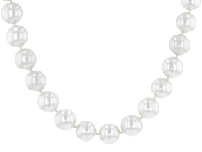 White Cultured Freshwater Pearl Rhodium Over Sterling Silver 18 Inch Necklace With Magnetic Clasp