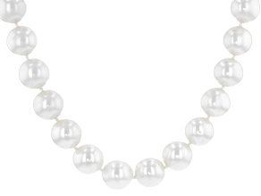 White Cultured Freshwater Pearl 14k Yellow Gold 20 Inch Strand Necklace
