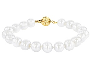 White Cultured Freshwater Pearl 14k Yellow Gold Strand Bracelet