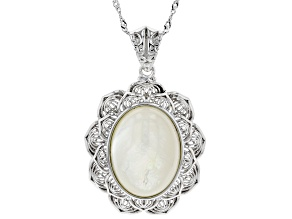 White South Sea Mother-of-Pearl Rhodium Over Sterling Pendant With Chain