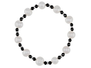 White Cultured Freshwater Pearl & Black Spinel 4.8ctw Stretch Bracelet