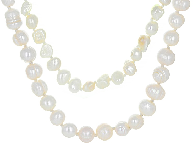 Fast Shipping White Pearl Necklace Wedding Bridal Gift Pearl Two Tone 9K Yellow Gold and 925 Sterling Silver ms 1517 Pendant With Chain