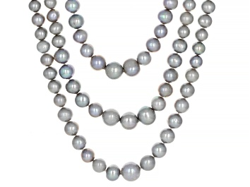 Picture of Silver Cultured Freshwater Pearl & Zircon Rhodium Over Sterling Silver Multi-Row Necklace