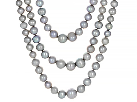 Silver Cultured Freshwater Pearl & Zircon Rhodium Over Sterling Silver Multi-Row Necklace