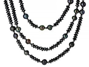 Multi-Color Cultured Freshwater Pearl & Hematite Rhodium Over Sterling Silver Multi-Row Necklace