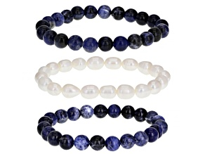 White Cultured Freshwater Pearl & Sodalite Stretch Bracelet Set of 3