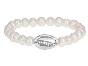 White Cultured Freshwater Pearl Rhodium Over Sterling Silver Stretch Bracelet