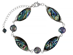 Black Cultured Freshwater Pearl & Abalone Shell Rhodium Over Sterling Silver Bracelet