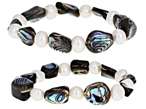 White Cultured Freshwater Pearl & Abalone Shell Stretch Bracelet Set of 2