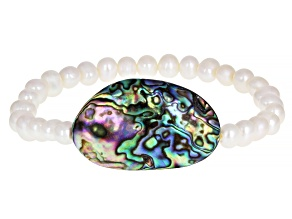 White Cultured Freshwater Pearl & Abalone Shell Stretch Bracelet