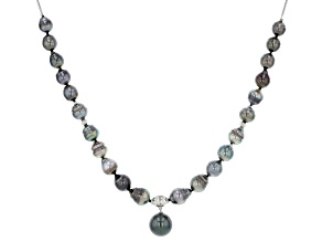 Cultured Tahitian Pearl Rhodium Over Sterling Silver 20 Inch Necklace