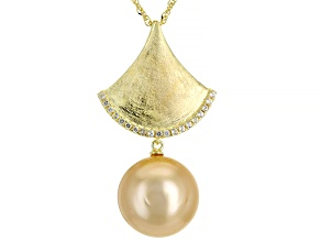 Golden Cultured South Sea Pearl & White Topaz 18k Yellow Gold Over Sterling Silver Pendant