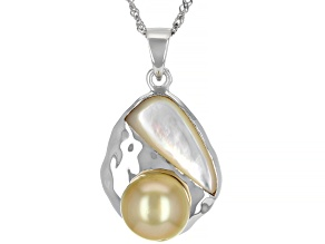 Golden Cultured South Sea Pearl & White South Sea Mother-of-Pearl Rhodium Over Silver Pendant