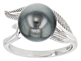 Cultured Tahitian Pearl Rhodium Over Sterling Silver Ring