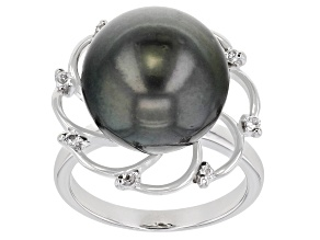 Cultured Tahitian Pearl & White Topaz Rhodium Over Sterling Silver Ring