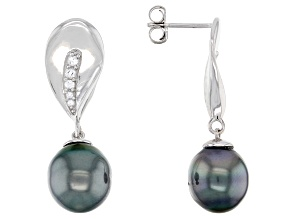 Cultured Tahitian Pearl & White Topaz Rhodium Over Sterling Silver Earrings