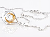 Golden Cultured South Sea Pearl Rhodium Over Sterling Silver Pendant With Chain