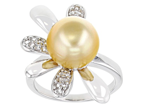 Golden Cultured South Sea Pearl & White Topaz Rhodium Over Sterling Silver Ring