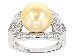 Golden Cultured South Sea Pearl & White Topaz 0.35ctw Rhodium Over Sterling Silver Ring