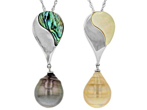 Cultured South Sea & Tahitian Pearl, Mother-of-Pearl & Abalone Shell Rhodium Over Silver Pendant Set
