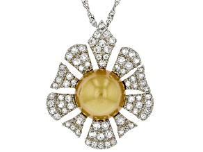 Golden Cultured South Sea Pearl & White Topaz 1.2ctw Rhodium Over Sterling Silver Pendant