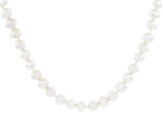 White Cultured Freshwater Pearl Rhodium Over Sterling Silver 28 Inch Strand Necklace