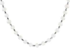 White Cultured Freshwater Pearl & Hematine Rhodium Over Sterling Silver 32 Inch Necklace