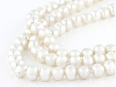 White Cultured Freshwater Pearl Rhodium Over Sterling Silver Multi-Row Necklace