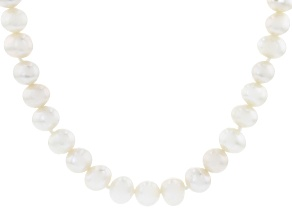 White Cultured Freshwater Pearl Rhodium Over Sterling Silver 36 Inch Strand Necklace