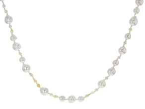 White Cultured Japanese Akoya Pearl Rhodium Over Sterling Silver 34 Inch Strand Necklace