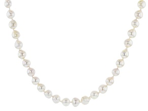 White Cultured Japanese Akoya Pearl Rhodium Over Sterling Silver 18 Inch Necklace