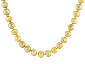 Golden Cultured Freshwater Pearl & Champagne Diamond 18k Yellow Gold Over Silver 24 Inch Necklace
