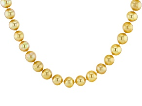 Golden Cultured Freshwater Pearl & Champagne Diamond 18k Yellow Gold Over Silver 18 Inch Necklace