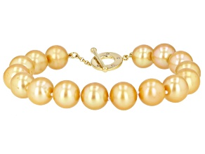 Golden Cultured Freshwater Pearl & Champagne Diamond 18k Yellow Gold Over Silver 8 Inch Bracelet