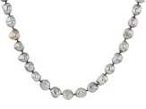 Silver Cultured Freshwater Pearl Rhodium Over Sterling Silver 18 Inch Strand Necklace