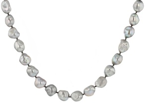 Silver Cultured Freshwater Pearl Rhodium Over Sterling Silver 24 Inch Strand Necklace