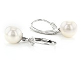 White Cultured Freshwater Pearl Rhodium Over Sterling Silver Drop Earrings