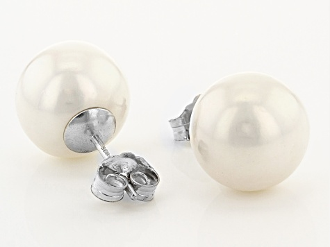 White Cultured Freshwater Pearl Rhodium Over Sterling Silver Stud Earrings