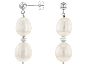White Cultured Freshwater Pearl Rhodium Over Sterling Silver Dangle Earrings