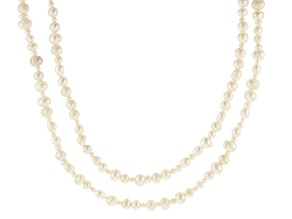 White Cultured Freshwater Pearl 36 Inch Endless Strand Necklace Set of 2