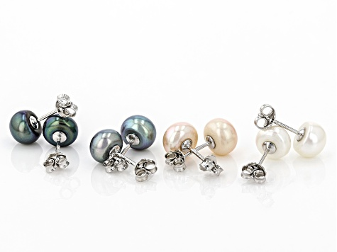 Multi-Color Cultured Freshwater Pearl Rhodium Over Sterling Silver Earrings Box Set of 4