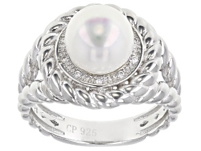 White Cultured Freshwater Pearl & Cubic Zirconia 0.1ctw Rhodium Over Sterling Silver Ring