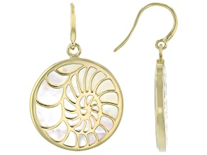 White South Sea Mother-of-Pearl 18k Yellow Gold Over Sterling Silver Earrings