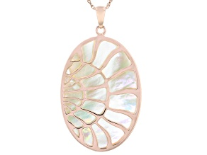 White South Sea Mother-of-Pearl 18k Rose Gold Over Sterling Silver Pendant With Chain